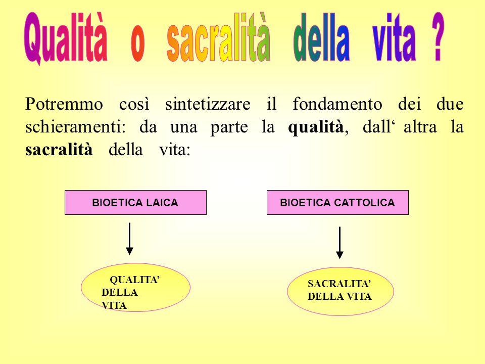 Potremmo così sintetizzare il fondamento dei due schieramenti: da una parte la qualità, dall altra la sacralità della vita: SACRALITA DELLA VITA BIOET