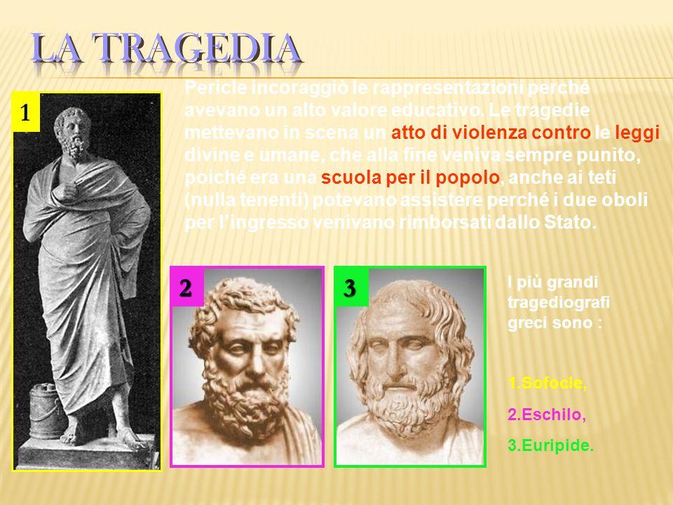Pericle incoraggiò le rappresentazioni perché avevano un alto valore educativo. Le tragedie mettevano in scena un atto di violenza contro le leggi div