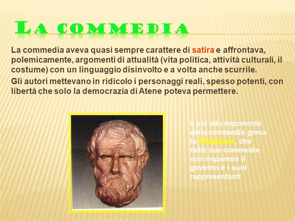 La commedia aveva quasi sempre carattere di satira e affrontava, polemicamente, argomenti di attualità (vita politica, attività culturali, il costume)