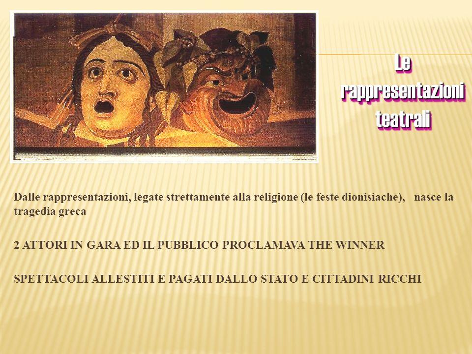 Dalle rappresentazioni, legate strettamente alla religione (le feste dionisiache), nasce la tragedia greca 2 ATTORI IN GARA ED IL PUBBLICO PROCLAMAVA
