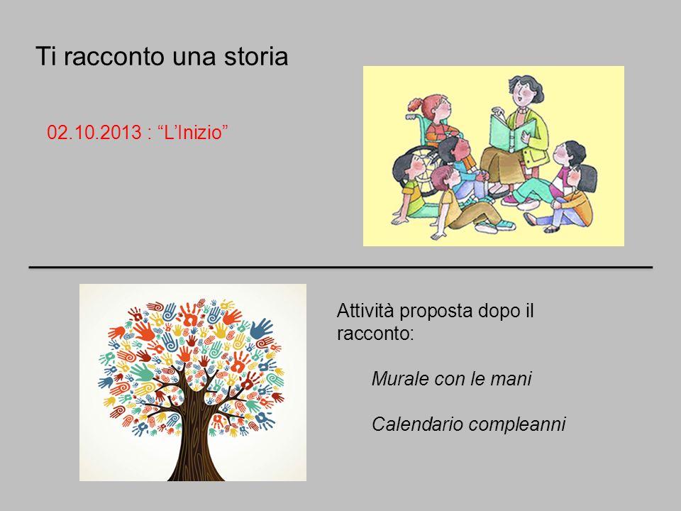Ti racconto una storia 02.10.2013 : LInizio Attività proposta dopo il racconto: Murale con le mani Calendario compleanni
