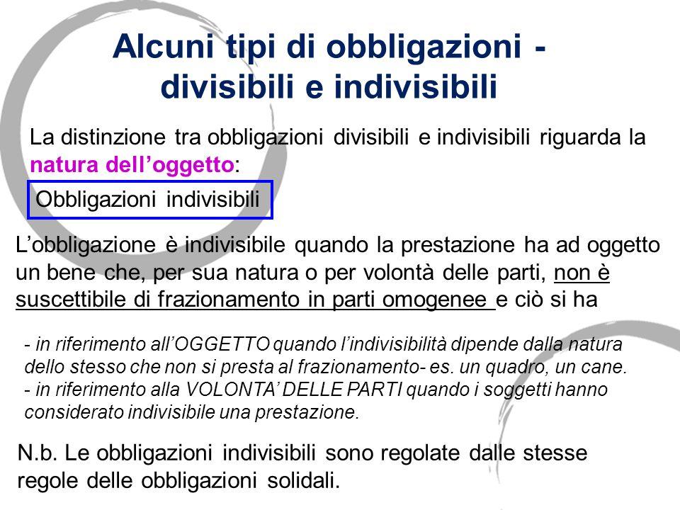 Alcuni tipi di obbligazioni - divisibili e indivisibili La distinzione tra obbligazioni divisibili e indivisibili riguarda la natura delloggetto: Obbl