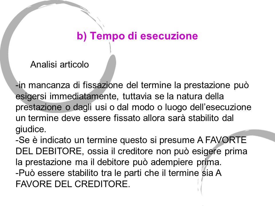 b) Tempo di esecuzione Art. 1183.Tempo dell'adempimento. Se non è determinato il tempo in cui la prestazione deve essere eseguita, il creditore può es