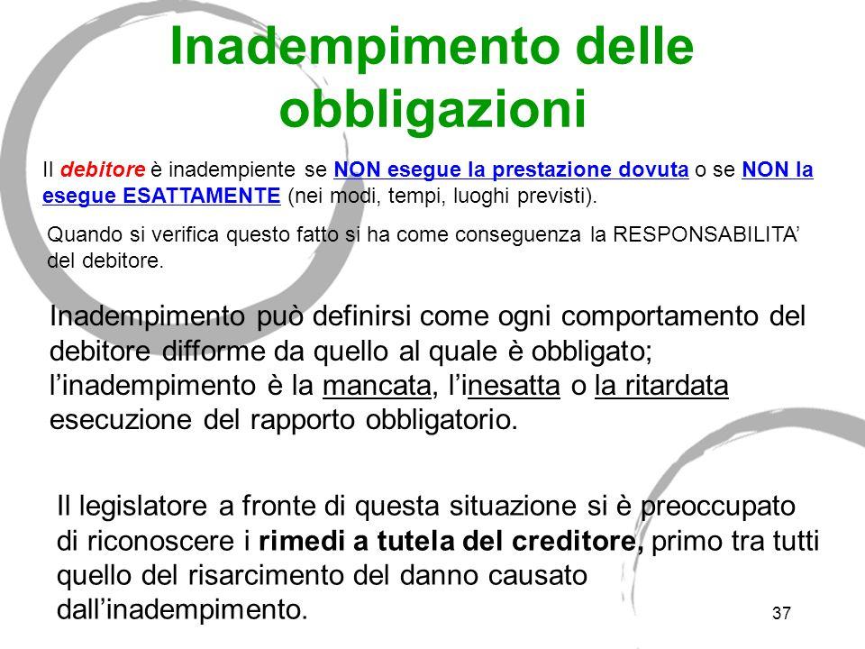 36 f) Identità della prestazione il debitore è liberato solo se ESEGUE LA PRESTAZIONE DOVUTA il creditore può consentire che il debitore esegua una pr