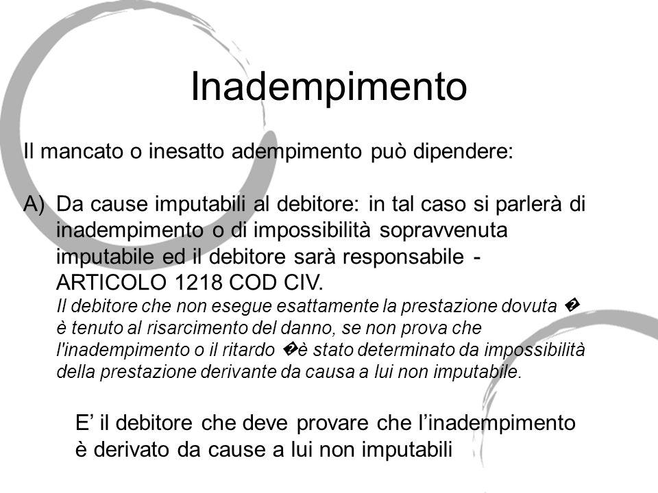 37 Inadempimento delle obbligazioni Il debitore è inadempiente se NON esegue la prestazione dovuta o se NON la esegue ESATTAMENTE (nei modi, tempi, lu