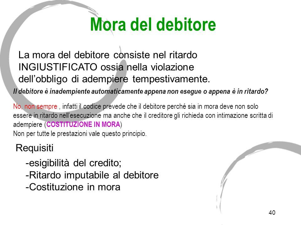 Inadempimento Il mancato o inesatto adempimento può dipendere: B) Da cause NON imputabili al debitore: in tal caso si parlerà di impossibilità sopravv