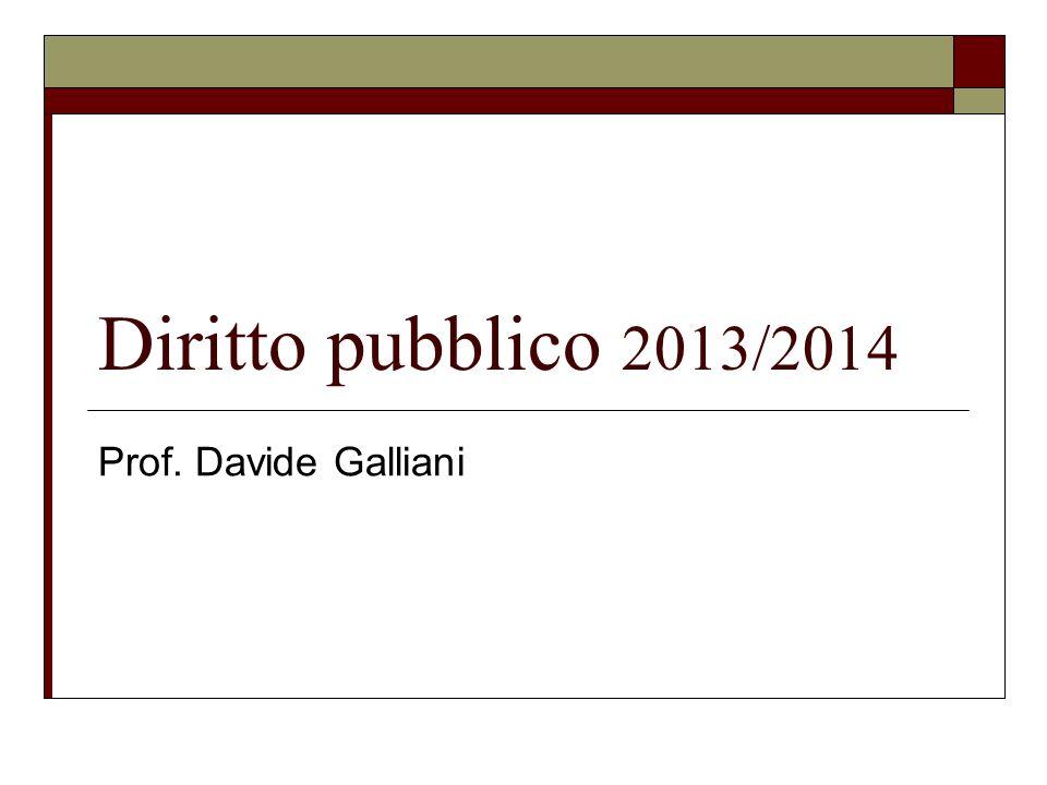 Diritto pubblico 2013/2014 Prof. Davide Galliani