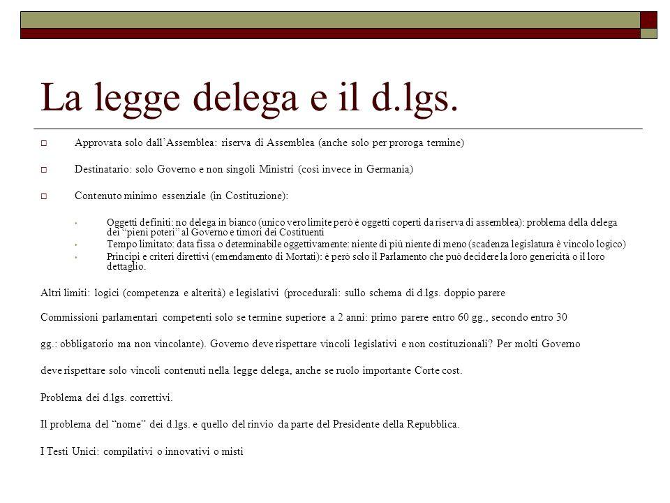 La legge delega e il d.lgs. Approvata solo dallAssemblea: riserva di Assemblea (anche solo per proroga termine) Destinatario: solo Governo e non singo