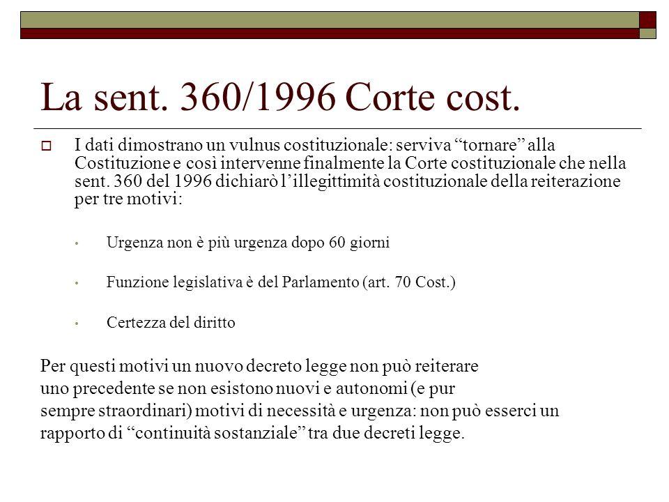La sent. 360/1996 Corte cost. I dati dimostrano un vulnus costituzionale: serviva tornare alla Costituzione e così intervenne finalmente la Corte cost