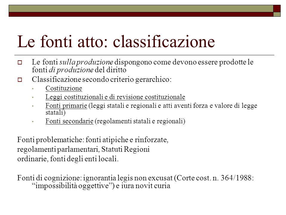 Le fonti atto: classificazione Le fonti sulla produzione dispongono come devono essere prodotte le fonti di produzione del diritto Classificazione sec