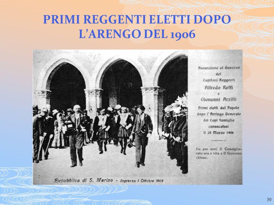 30 PRIMI REGGENTI ELETTI DOPO LARENGO DEL 1906