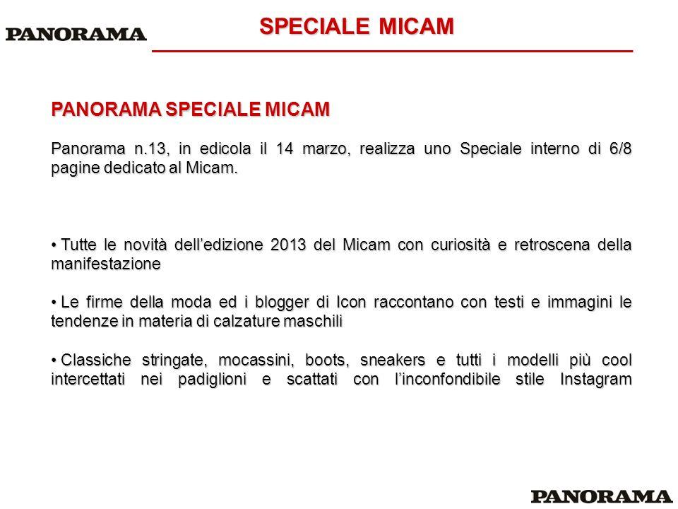 OFFERTA COMMERCIALE PANORAMA SPECIALE MICAM Pagina tabellare + citazione redazionale 8.000 lordo ca.