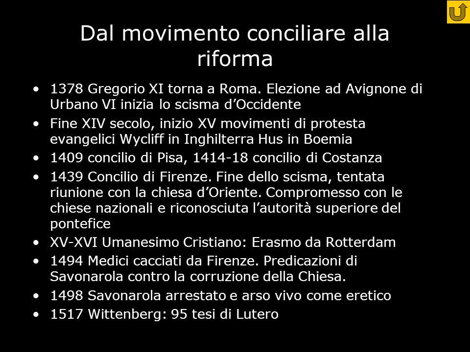 Dal movimento conciliare alla riforma 1378 Gregorio XI torna a Roma.