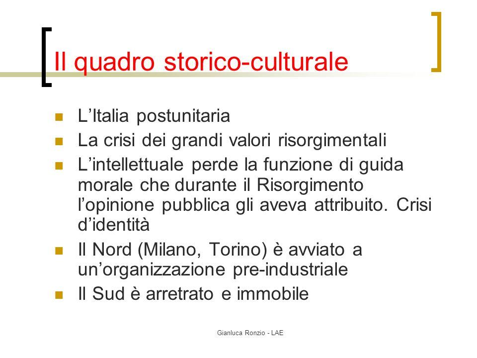 Gianluca Ronzio - LAE Il quadro storico-culturale LItalia postunitaria La crisi dei grandi valori risorgimentali Lintellettuale perde la funzione di g