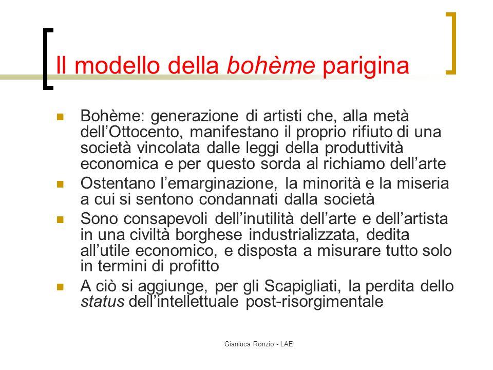 Gianluca Ronzio - LAE Il modello della bohème parigina Bohème: generazione di artisti che, alla metà dellOttocento, manifestano il proprio rifiuto di