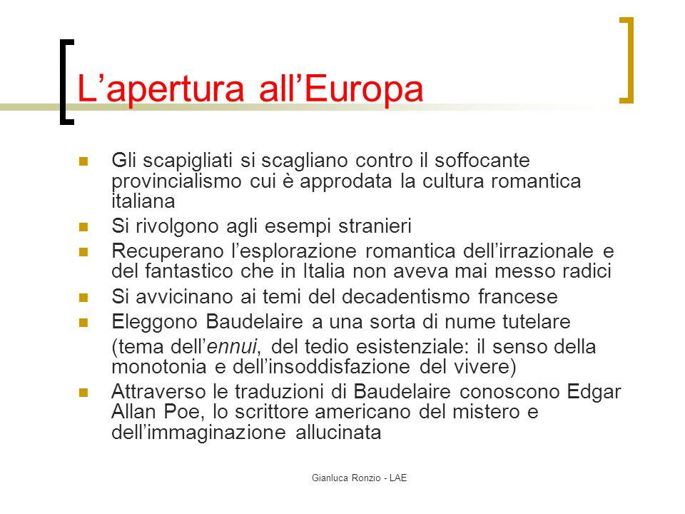 Gianluca Ronzio - LAE Lapertura allEuropa Gli scapigliati si scagliano contro il soffocante provincialismo cui è approdata la cultura romantica italia