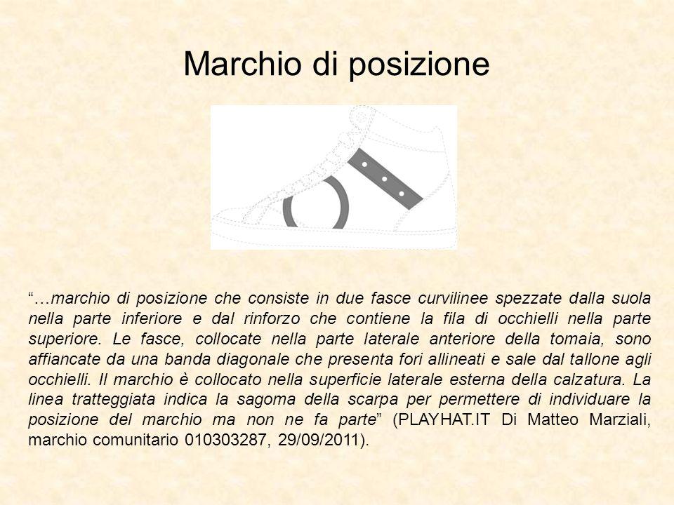 Marchio di posizione …marchio di posizione che consiste in due fasce curvilinee spezzate dalla suola nella parte inferiore e dal rinforzo che contiene la fila di occhielli nella parte superiore.