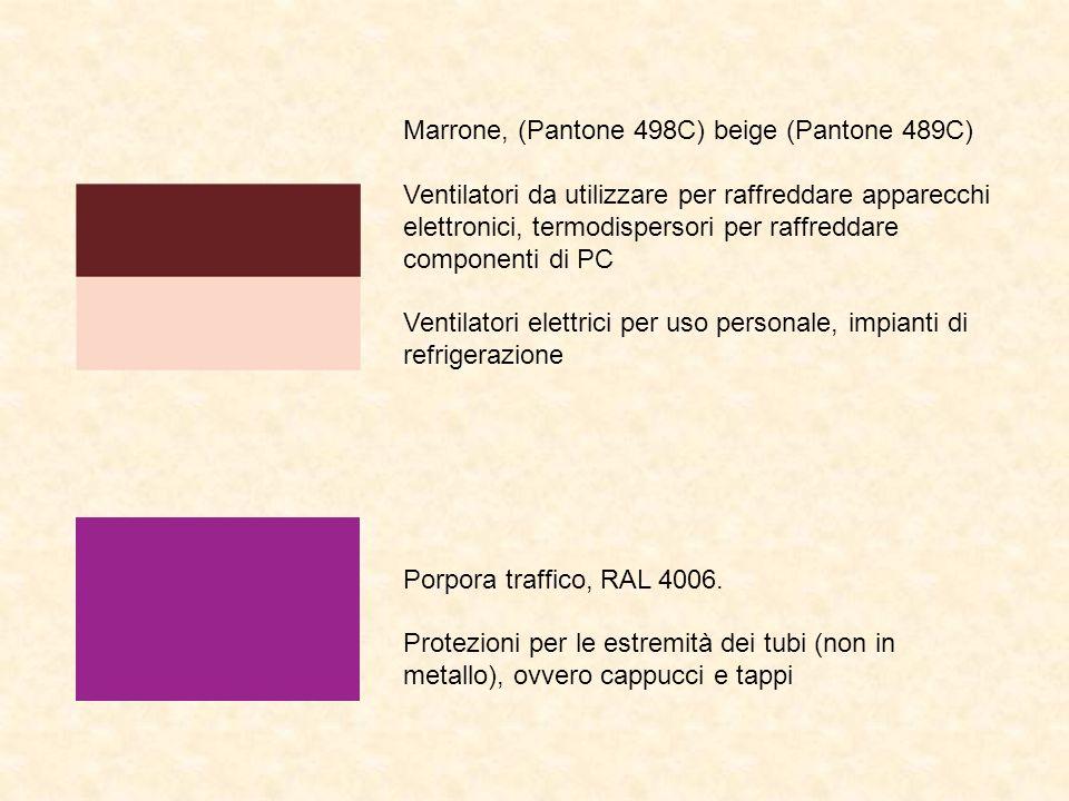 Marrone, (Pantone 498C) beige (Pantone 489C) Ventilatori da utilizzare per raffreddare apparecchi elettronici, termodispersori per raffreddare componenti di PC Ventilatori elettrici per uso personale, impianti di refrigerazione Porpora traffico, RAL 4006.