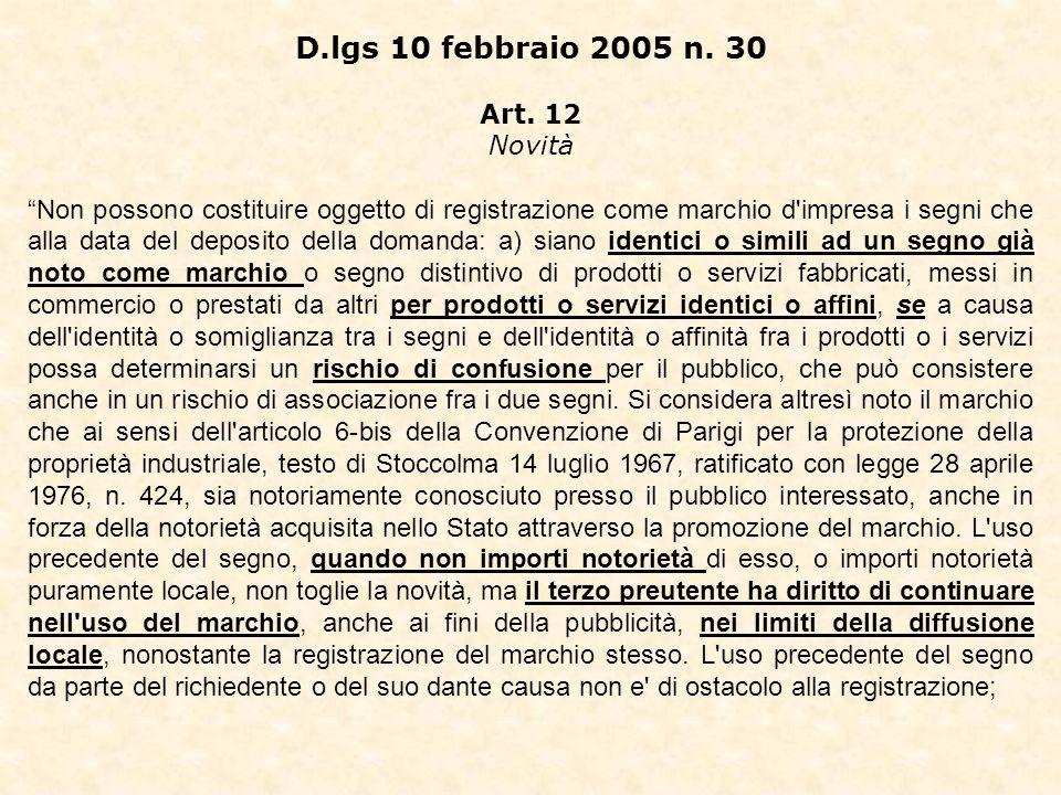 D.lgs 10 febbraio 2005 n. 30 Art.