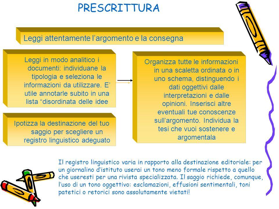 PRESCRITTURA Leggi attentamente largomento e la consegna Leggi in modo analitico i documenti: individuane la tipologia e seleziona le informazioni da