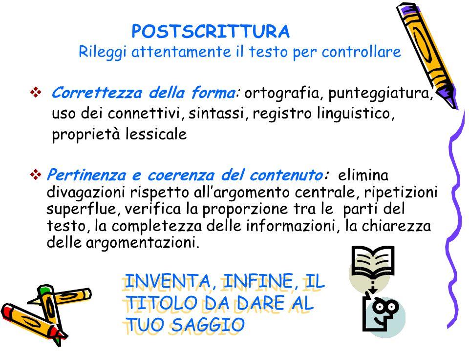POSTSCRITTURA Rileggi attentamente il testo per controllare Correttezza della forma: ortografia, punteggiatura, uso dei connettivi, sintassi, registro