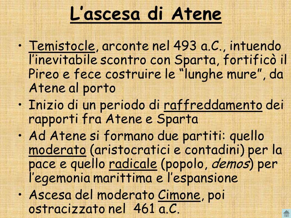 Lascesa di Atene Temistocle, arconte nel 493 a.C., intuendo linevitabile scontro con Sparta, fortificò il Pireo e fece costruire le lunghe mure, da At
