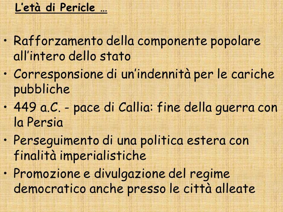 Letà di Pericle … Rafforzamento della componente popolare allintero dello stato Corresponsione di unindennità per le cariche pubbliche 449 a.C. - pace