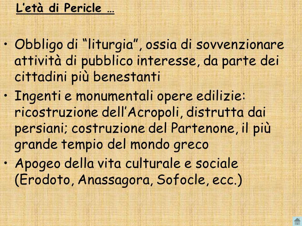 Letà di Pericle … Obbligo di liturgia, ossia di sovvenzionare attività di pubblico interesse, da parte dei cittadini più benestanti Ingenti e monument