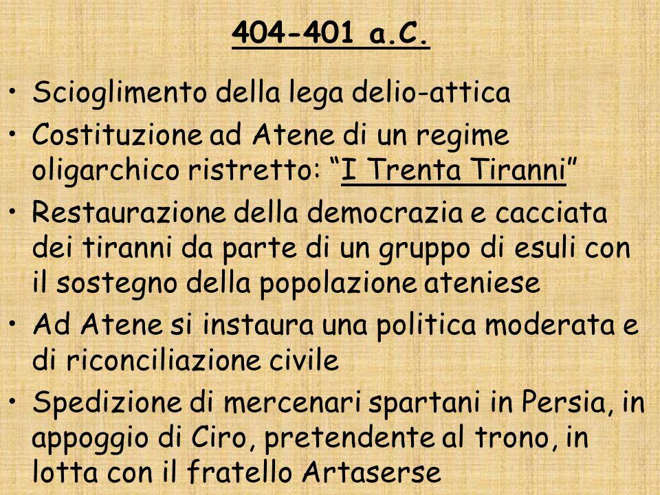 404-401 a.C. Scioglimento della lega delio-attica Costituzione ad Atene di un regime oligarchico ristretto: I Trenta Tiranni Restaurazione della democ