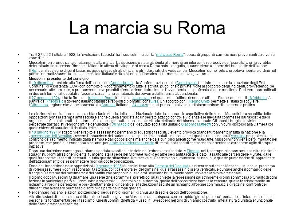 La marcia su Roma Tra il 27 e il 31 ottobre 1922, la