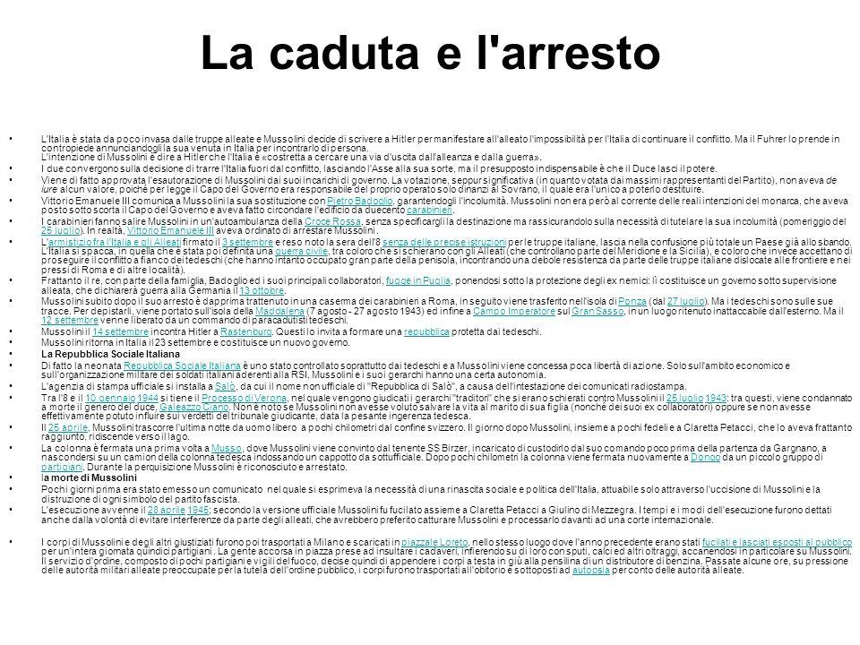 La caduta e l'arresto L'Italia è stata da poco invasa dalle truppe alleate e Mussolini decide di scrivere a Hitler per manifestare all'alleato l'impos