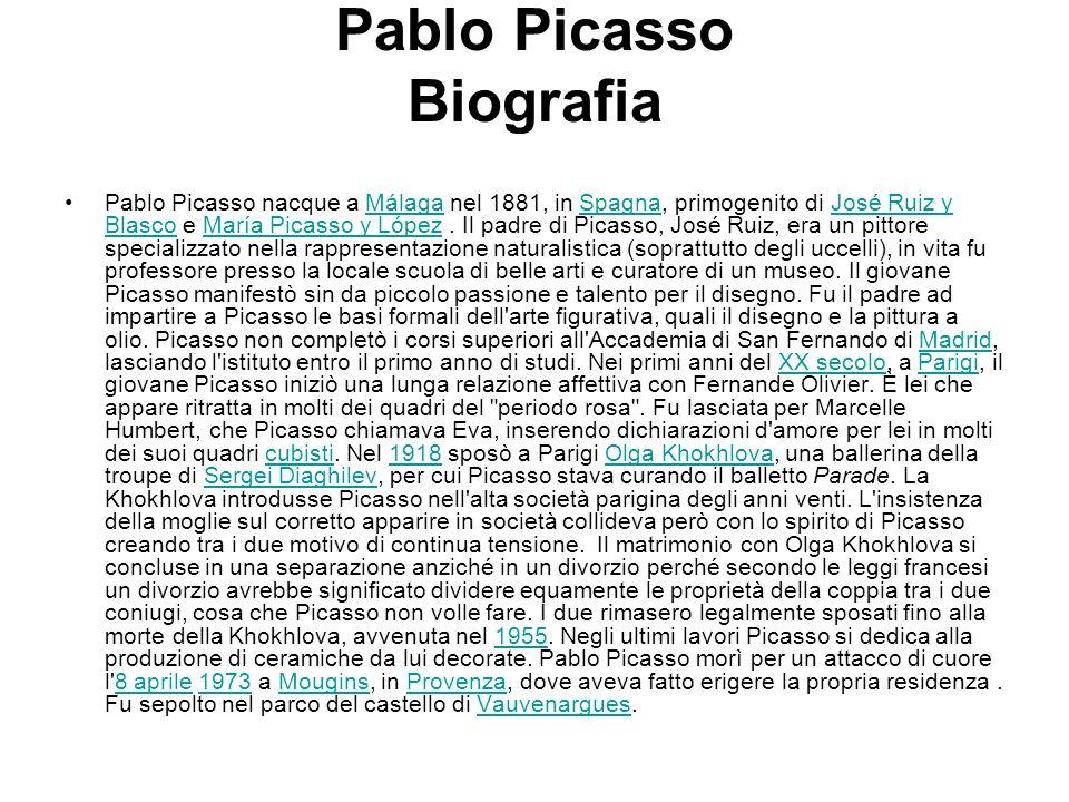 Pablo Picasso Biografia Pablo Picasso nacque a Málaga nel 1881, in Spagna, primogenito di José Ruiz y Blasco e María Picasso y López. Il padre di Pica
