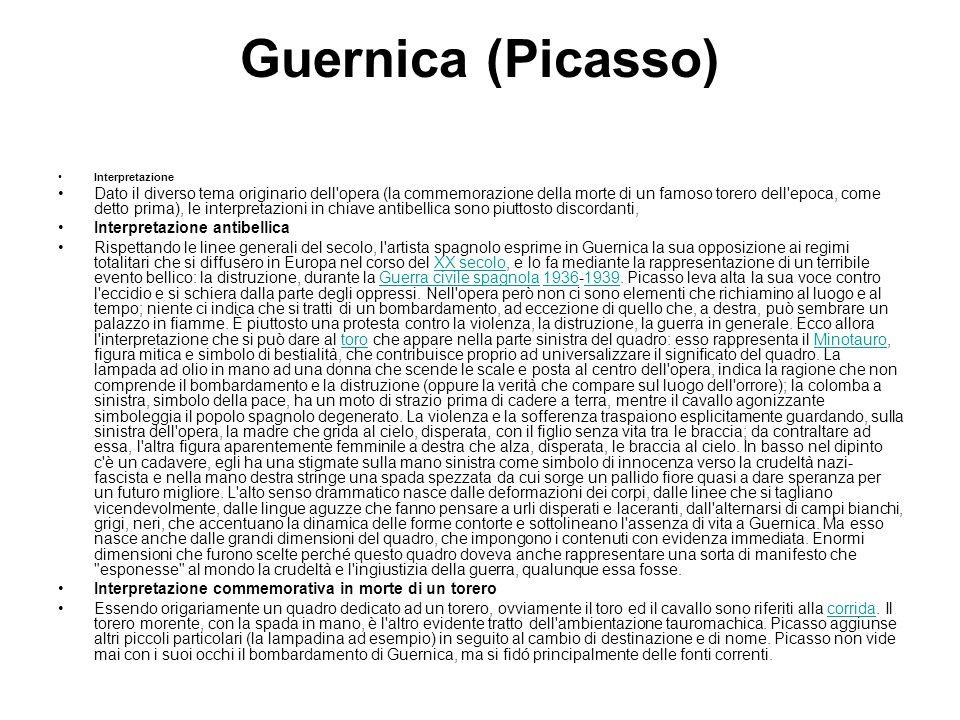 Guernica (Picasso) Interpretazione Dato il diverso tema originario dell'opera (la commemorazione della morte di un famoso torero dell'epoca, come dett