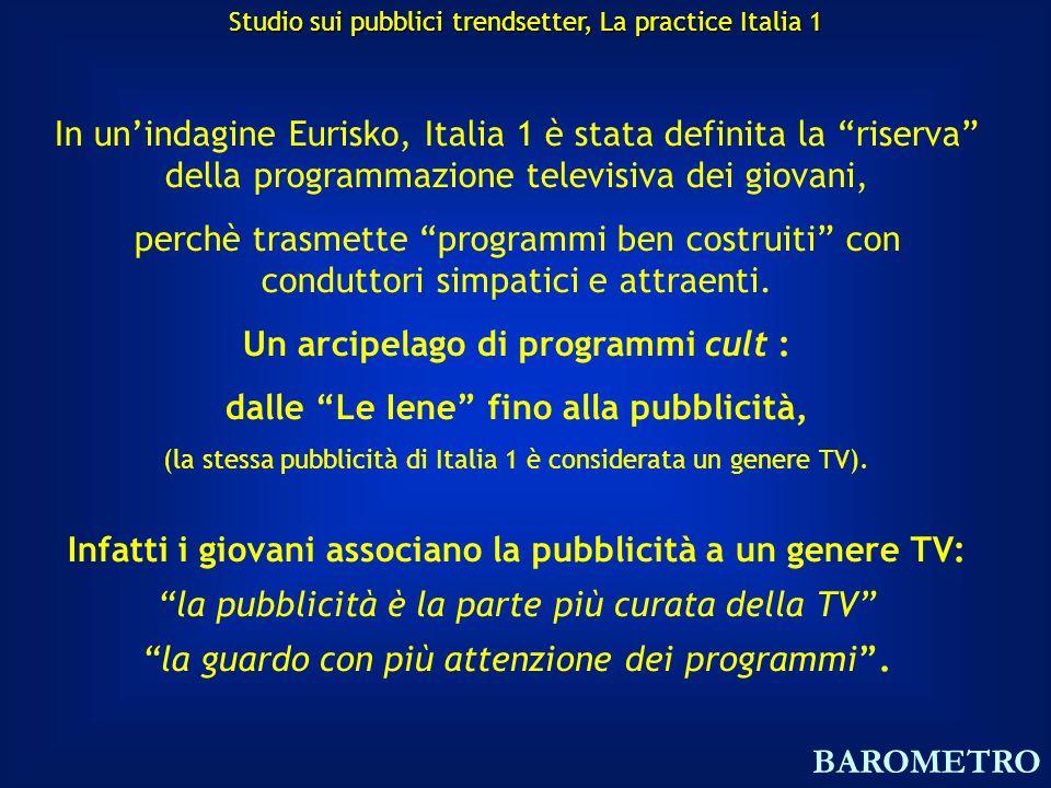 In unindagine Eurisko, Italia 1 è stata definita la riserva della programmazione televisiva dei giovani, perchè trasmette programmi ben costruiti con conduttori simpatici e attraenti.