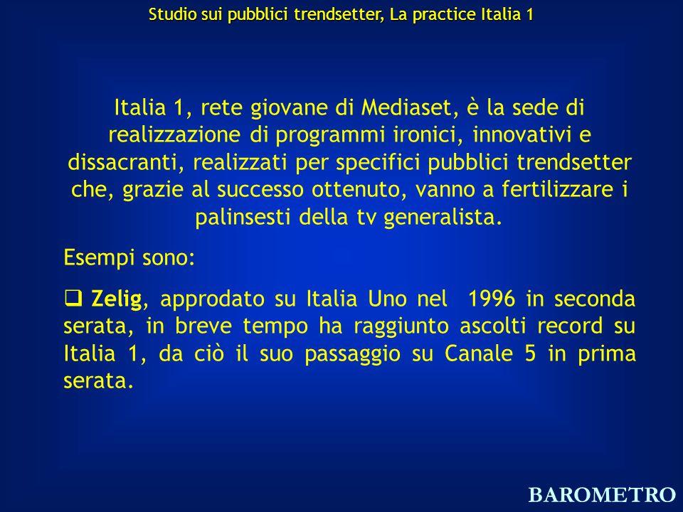 Italia 1, rete giovane di Mediaset, è la sede di realizzazione di programmi ironici, innovativi e dissacranti, realizzati per specifici pubblici trendsetter che, grazie al successo ottenuto, vanno a fertilizzare i palinsesti della tv generalista.