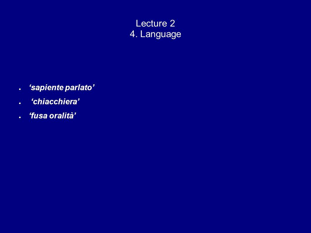 Lecture 2 4. Language sapiente parlato chiacchiera fusa oralità