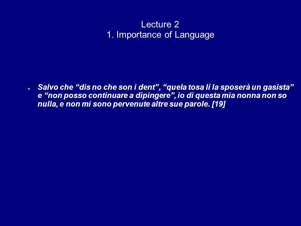 Lecture 2 1. Importance of Language Salvo che dis no che son i dent, quela tosa lì la sposerà un gasista e non posso continuare a dipingere, io di que
