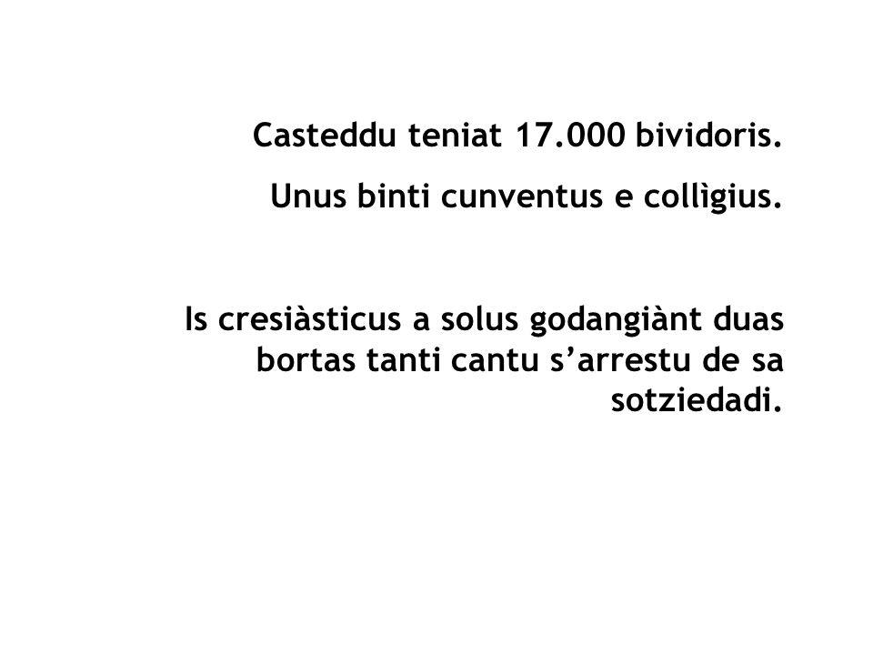Casteddu teniat 17.000 bividoris. Unus binti cunventus e collìgius. Is cresiàsticus a solus godangiànt duas bortas tanti cantu sarrestu de sa sotzieda