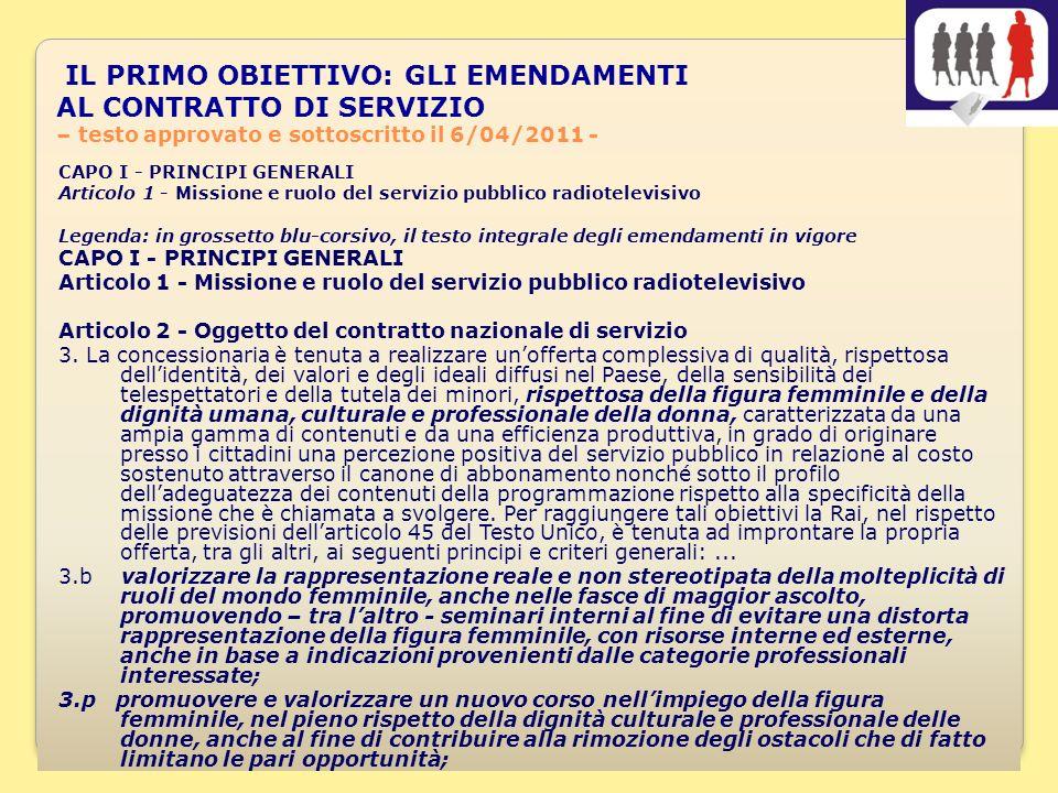 7 Articolo 2 comma 3 –SEGUE- Oggetto del contratto nazionale di servizio I DUE EMENDAMENTI ALLARTICOLO 2 COMMA 3, PUNTO 7 E 8, PROPOSTI IL 18 MAGGIO 2010 CON IL SOSTEGNO DI EMMA BONINO ED ALTRI PARLAMENTARI, SONO SINTETIZZATI NEL PUNTO 7, CONDIVISO DA APPELLO DONNE E MEDIA: 7.