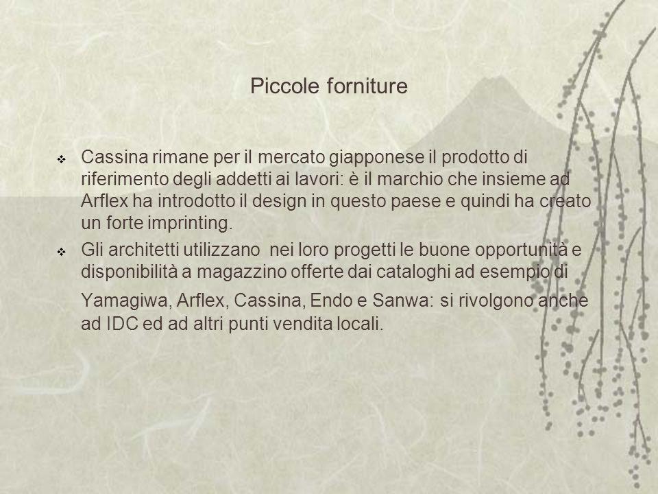 Piccole forniture Cassina rimane per il mercato giapponese il prodotto di riferimento degli addetti ai lavori: è il marchio che insieme ad Arflex ha introdotto il design in questo paese e quindi ha creato un forte imprinting.