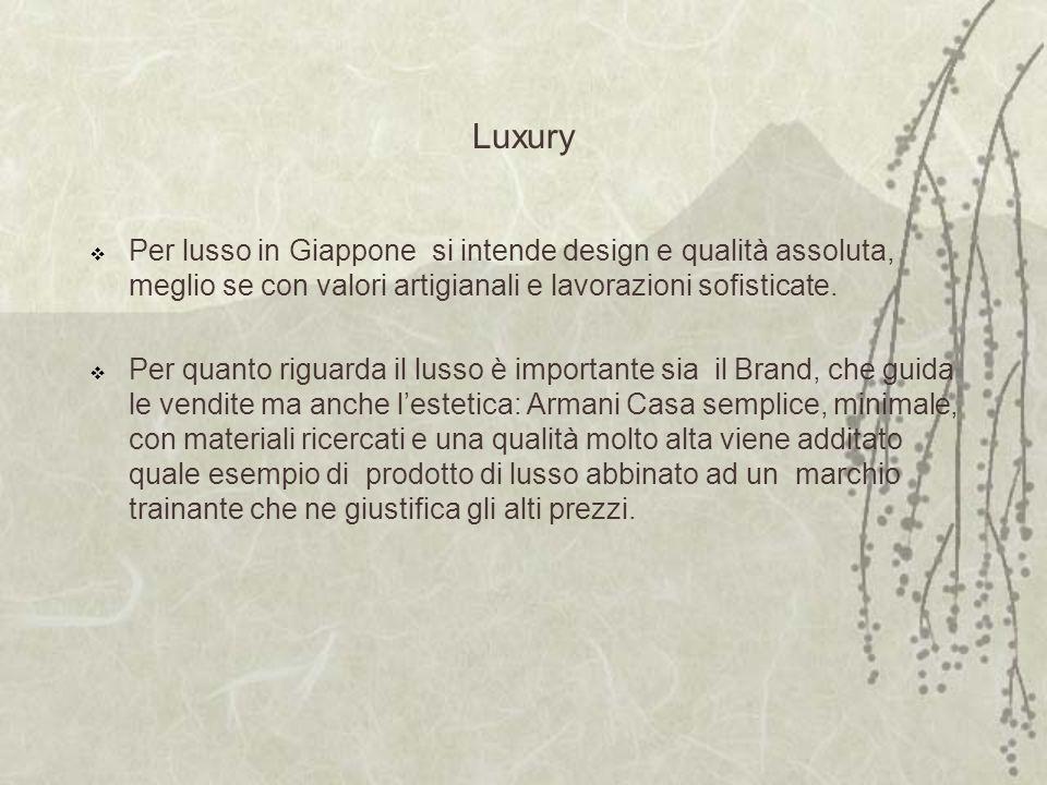 Luxury Per lusso in Giappone si intende design e qualità assoluta, meglio se con valori artigianali e lavorazioni sofisticate.