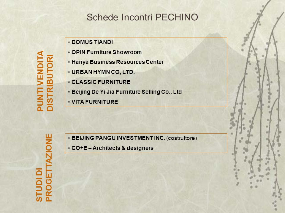 Schede Incontri PECHINO DOMUS TIANDI OPIN Furniture Showroom Hanya Business Resources Center URBAN HYMN CO, LTD.