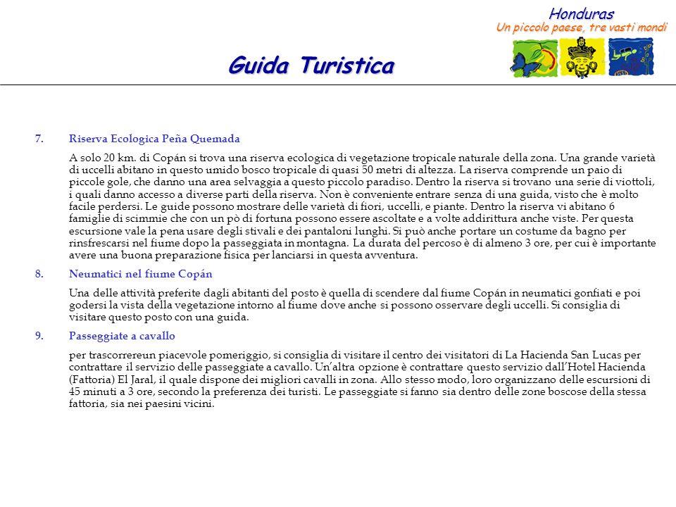 Honduras Un piccolo paese, tre vasti mondi Guida Turistica 7.Riserva Ecologica Peña Quemada A solo 20 km. di Copán si trova una riserva ecologica di v