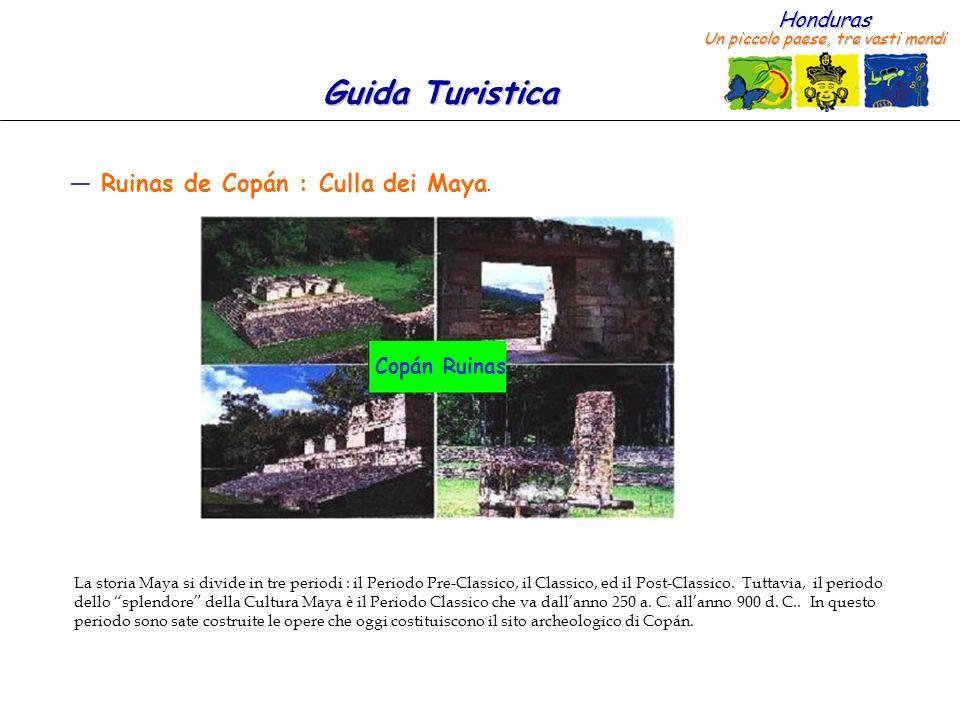 Honduras Un piccolo paese, tre vasti mondi Guida Turistica Ruinas de Copán : Culla dei Maya. Copán Ruinas La storia Maya si divide in tre periodi : il