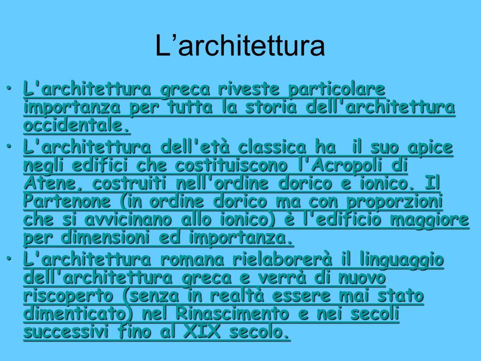 Larchitettura L'architettura greca riveste particolare importanza per tutta la storia dell'architettura occidentale.L'architettura greca riveste parti
