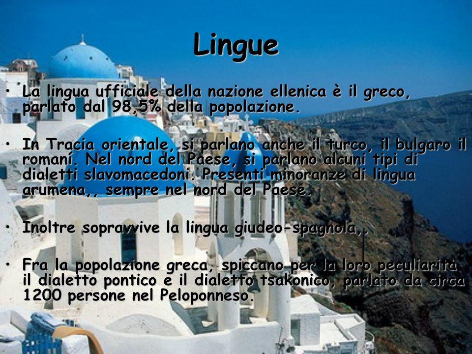 Lingue La lingua ufficiale della nazione ellenica è il greco, parlato dal 98,5% della popolazione.La lingua ufficiale della nazione ellenica è il grec