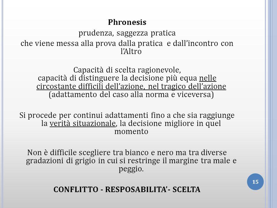 Phronesis prudenza, saggezza pratica che viene messa alla prova dalla pratica e dallincontro con lAltro Capacità di scelta ragionevole, capacità di di