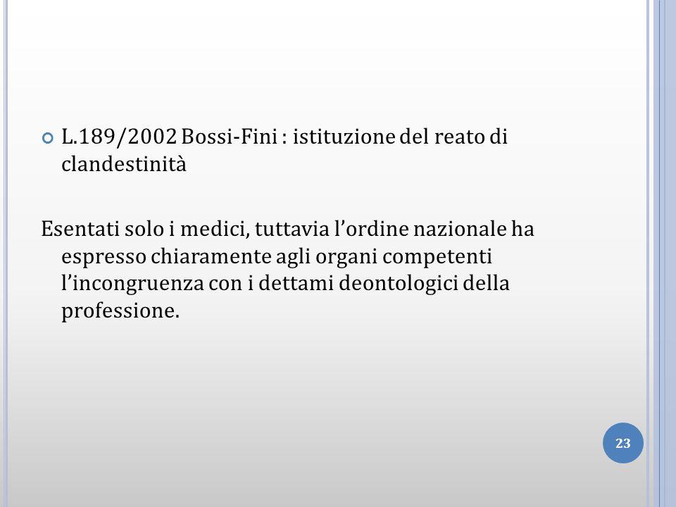 L.189/2002 Bossi-Fini : istituzione del reato di clandestinità Esentati solo i medici, tuttavia lordine nazionale ha espresso chiaramente agli organi