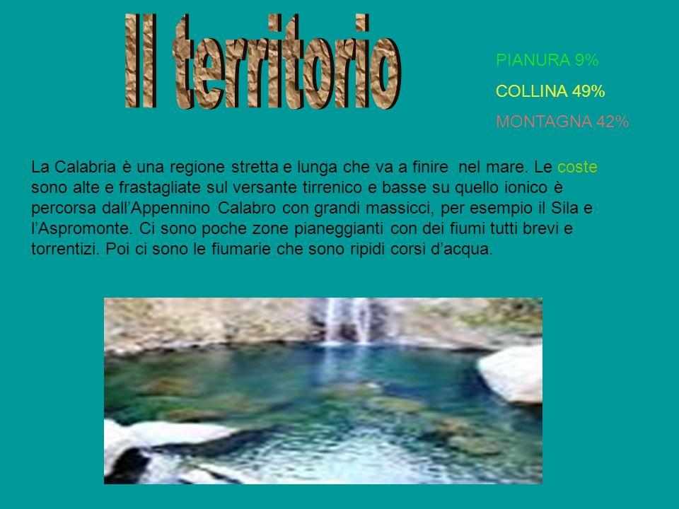 La Calabria è una regione stretta e lunga che va a finire nel mare. Le coste sono alte e frastagliate sul versante tirrenico e basse su quello ionico