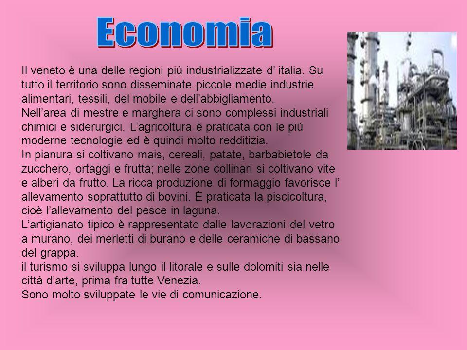 Il veneto è una delle regioni più industrializzate d italia. Su tutto il territorio sono disseminate piccole medie industrie alimentari, tessili, del